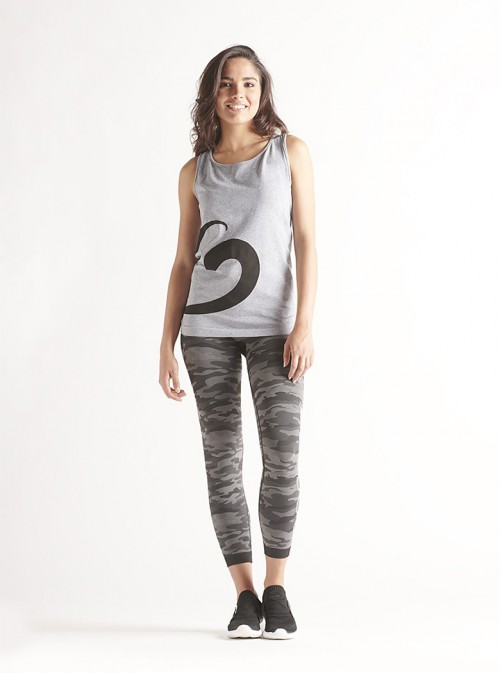 Women's Sport Outfit: Mélange tank top + Camouflage leggings