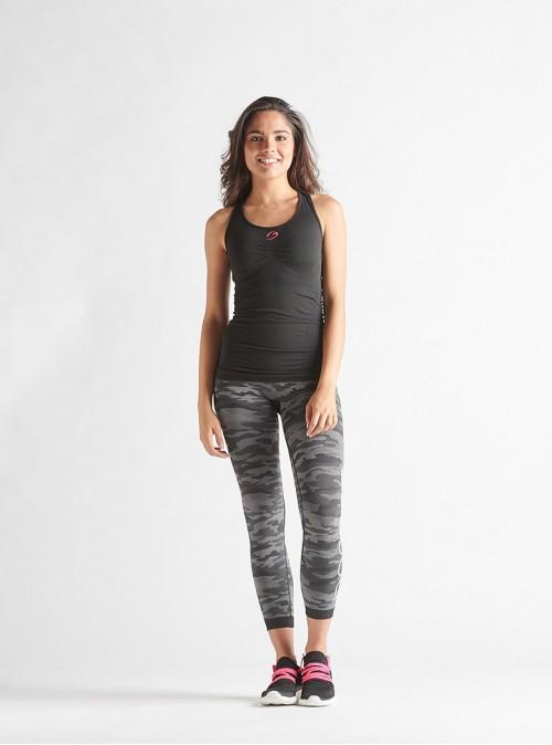 Sportset für Damen: Racerback-Shirt + Leggings in Camouflage