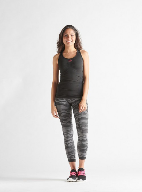 Women's Sport Outfit: Racerback tank top + Camouflage leggings