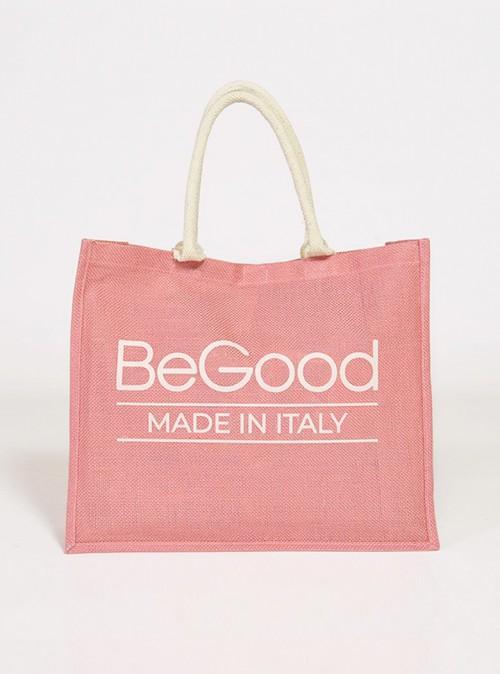 Bolsa de compras con estampado «BeGood» de yute