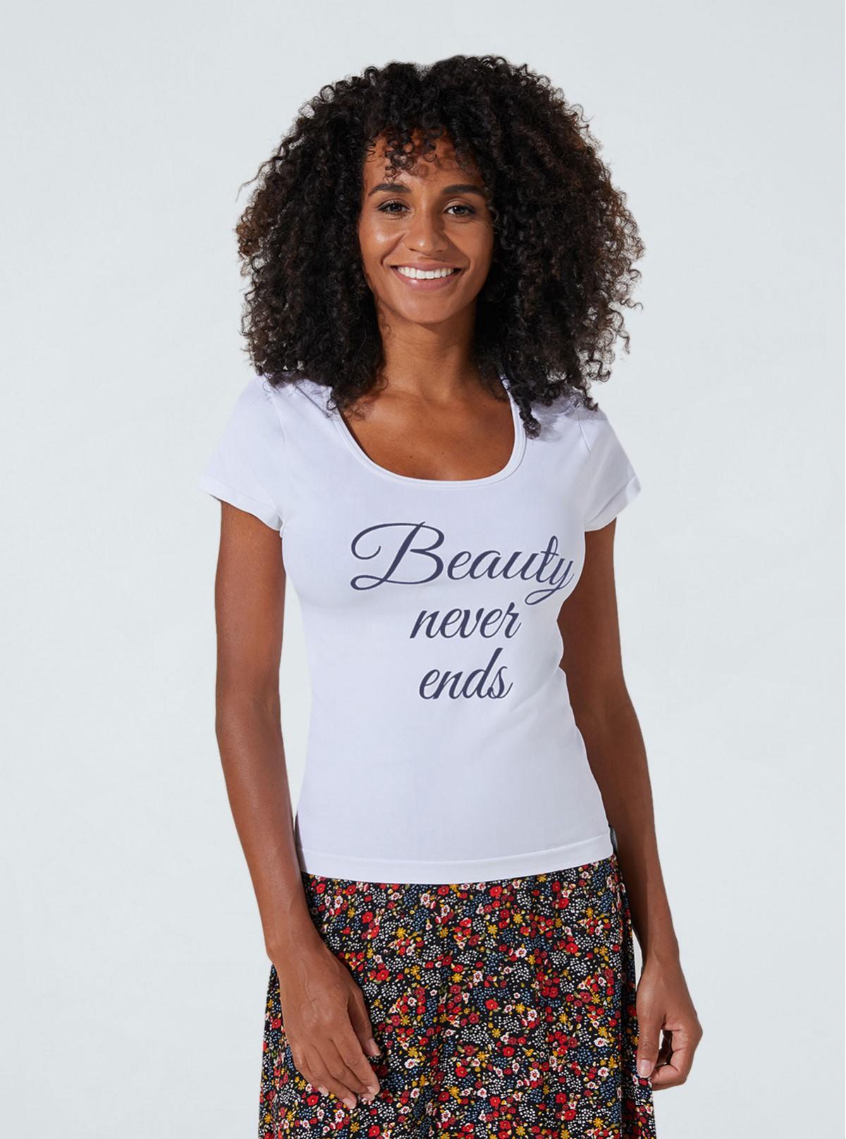 Maglietta Bianca con stampa «Beauty» snellente e idratante