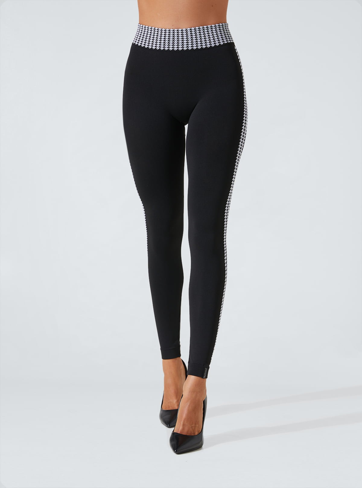 Superslim, draining and hydrating leggings with houndstooth inserts