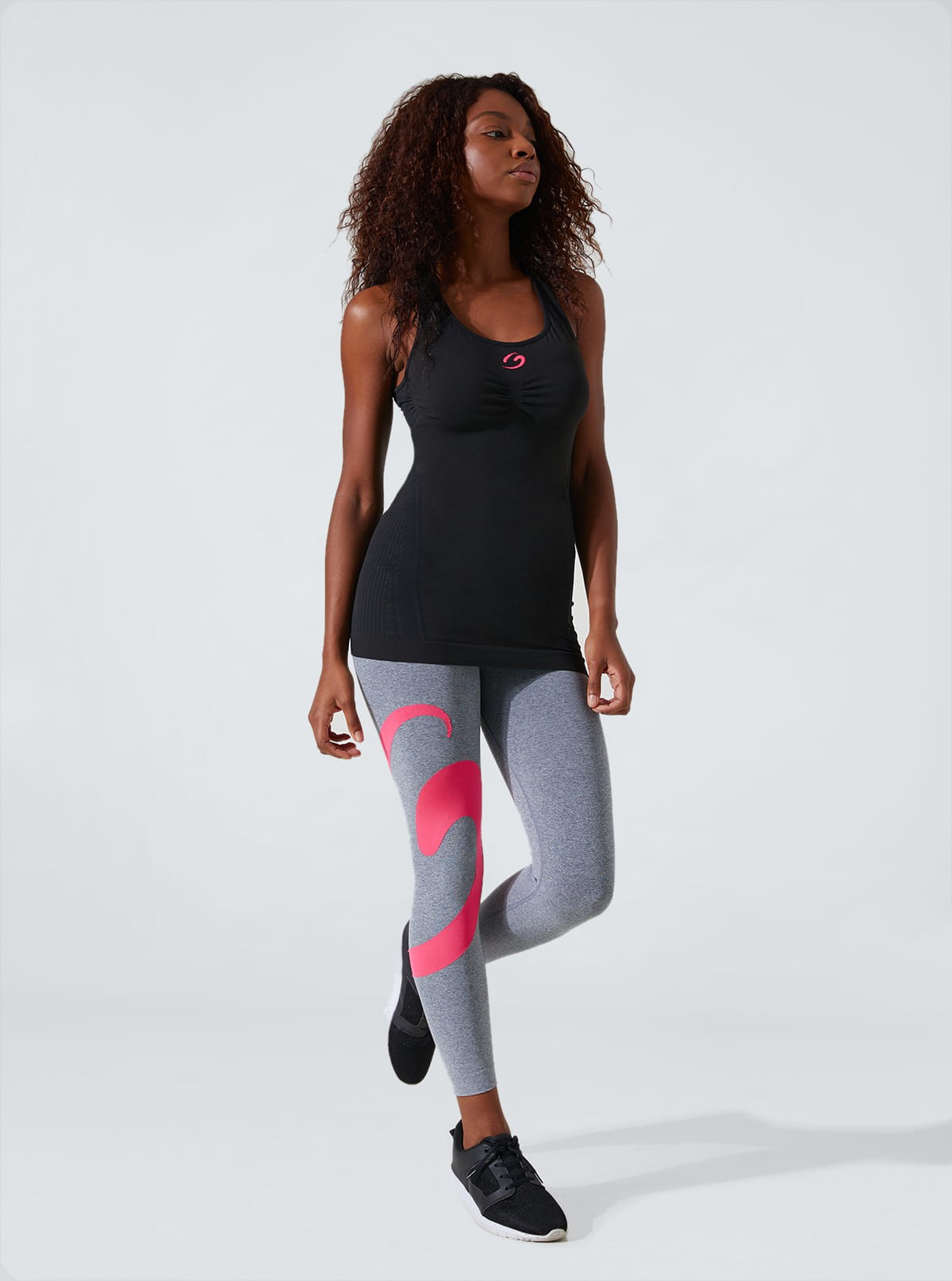 Completo Sport Donna: Canotta vogatore + Legging melange
