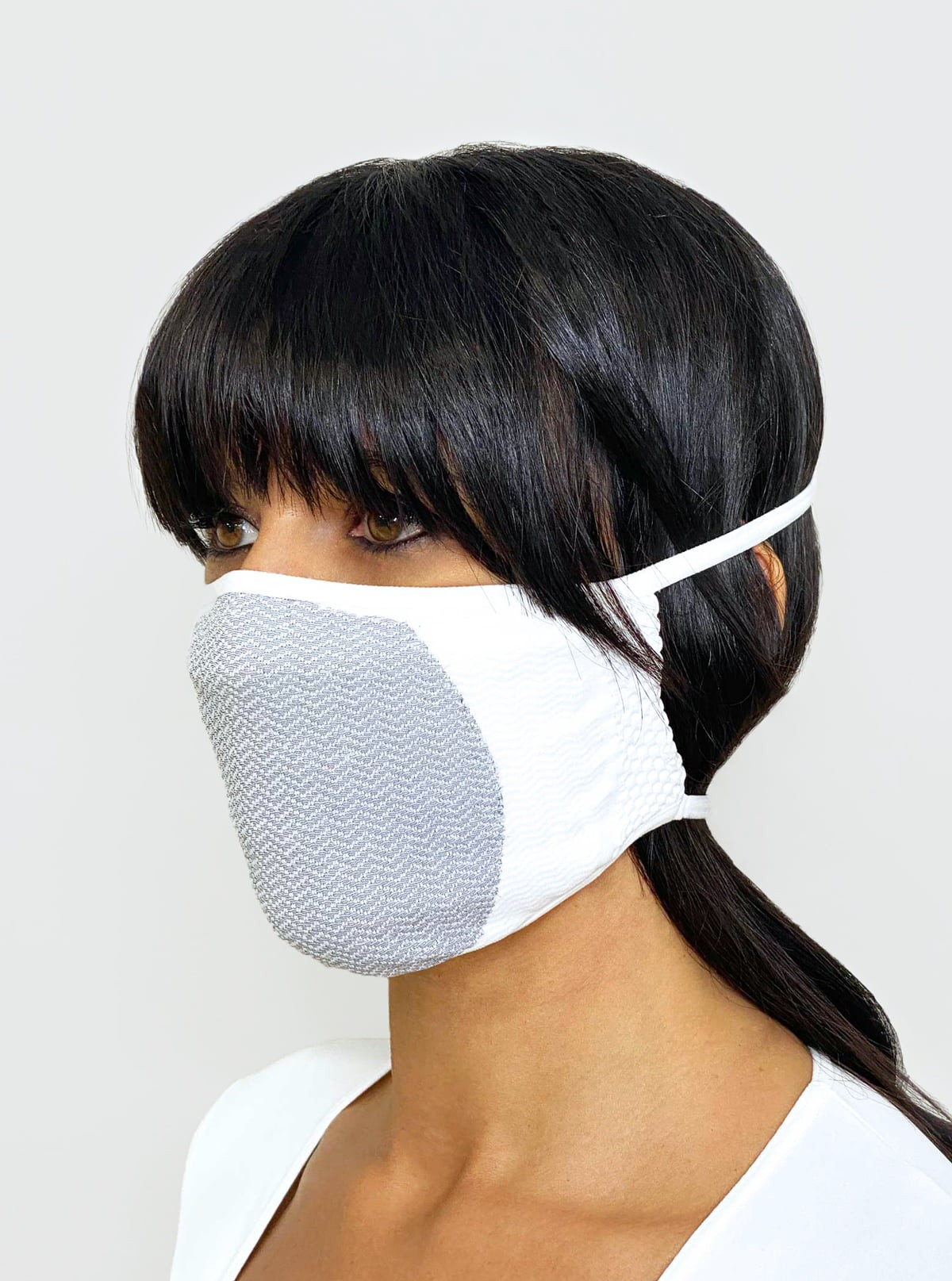 Carbon-Mask bianca, lavabile e Riutilizzabile, in Carbonio Filtrante, Antistatica, Antivirale, Antidroplet