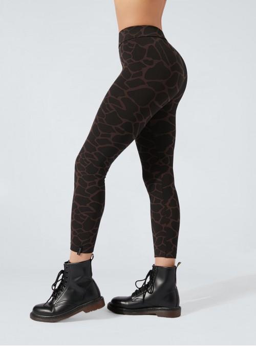 Legging Animalier Giraffato nero-marrone effetto snellente e idratante