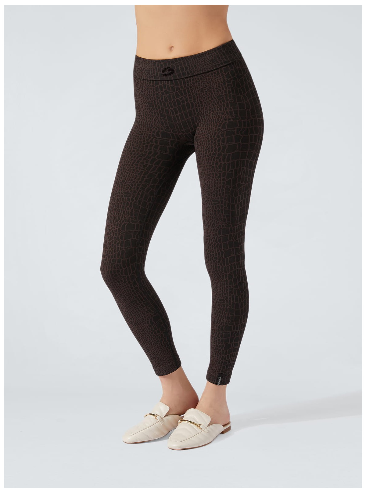 Legging Animalier Crocodile noir-marron amincissant et hydratant
