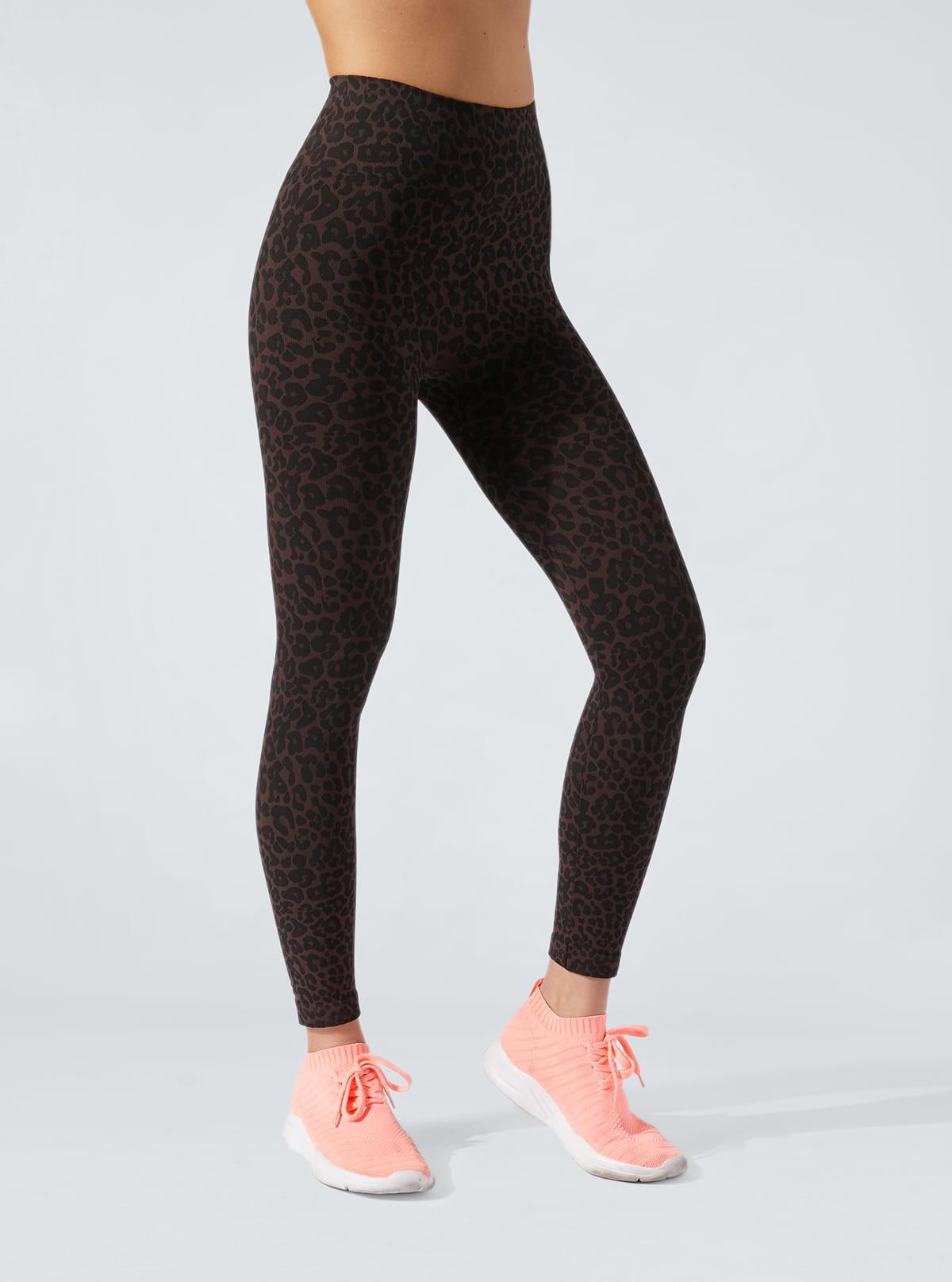Legging Animalier léopard noir-marron à effet amincissant et hydratant