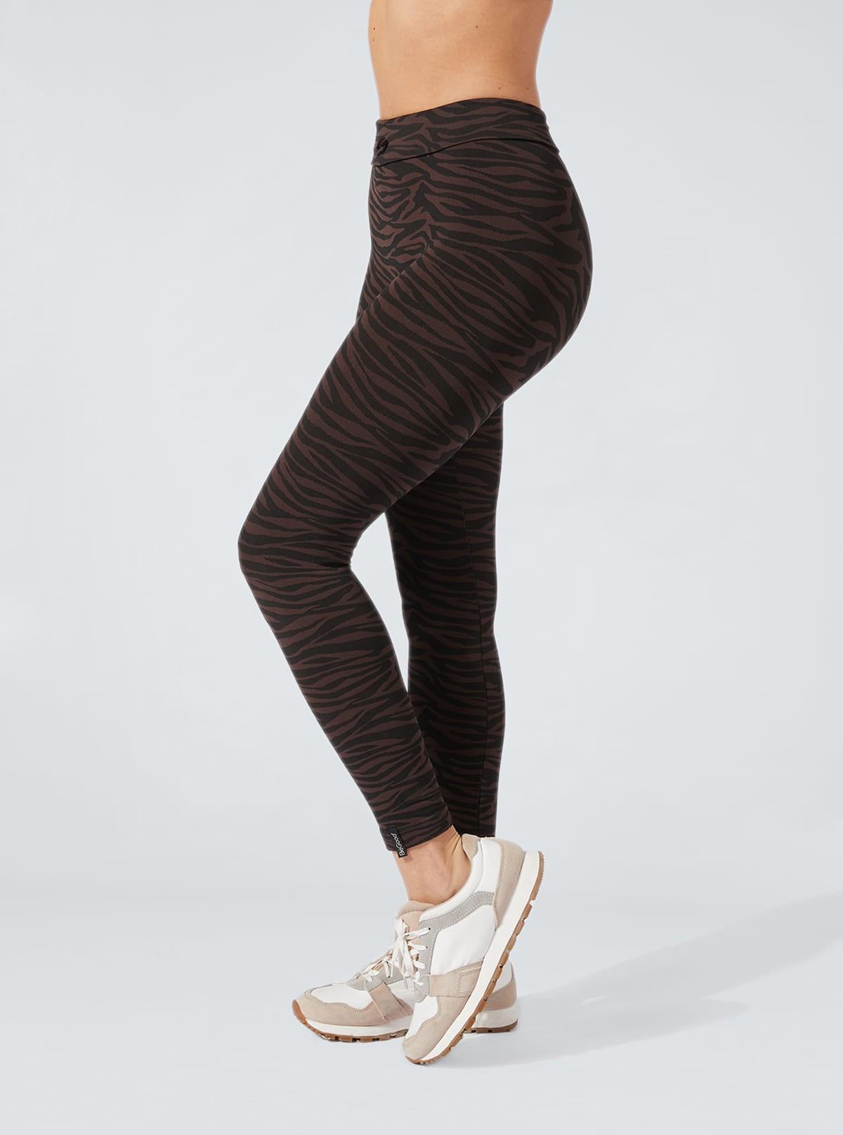 Legging Animalier Zebrato nero-marrone effetto snellente e idratante