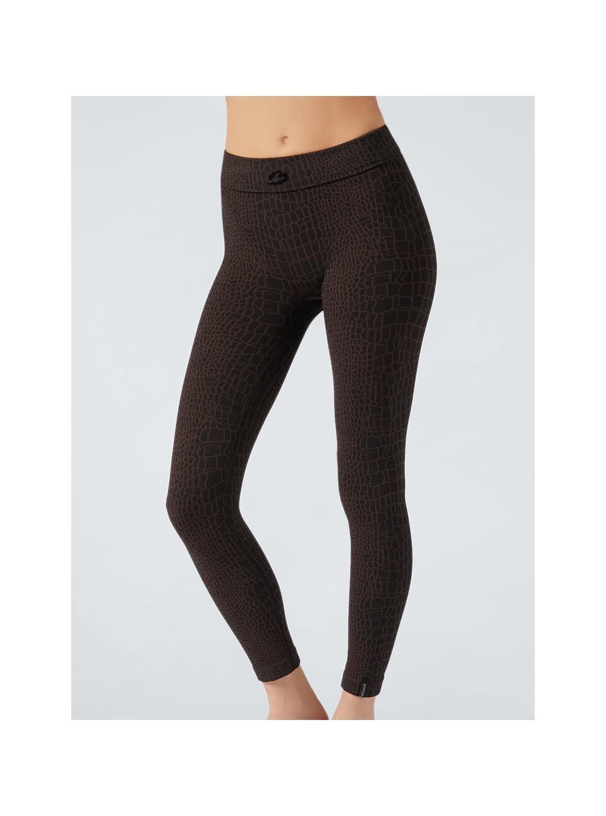 Legging Sport Animalier Coccodrillo nero-marrone idratante e snellente