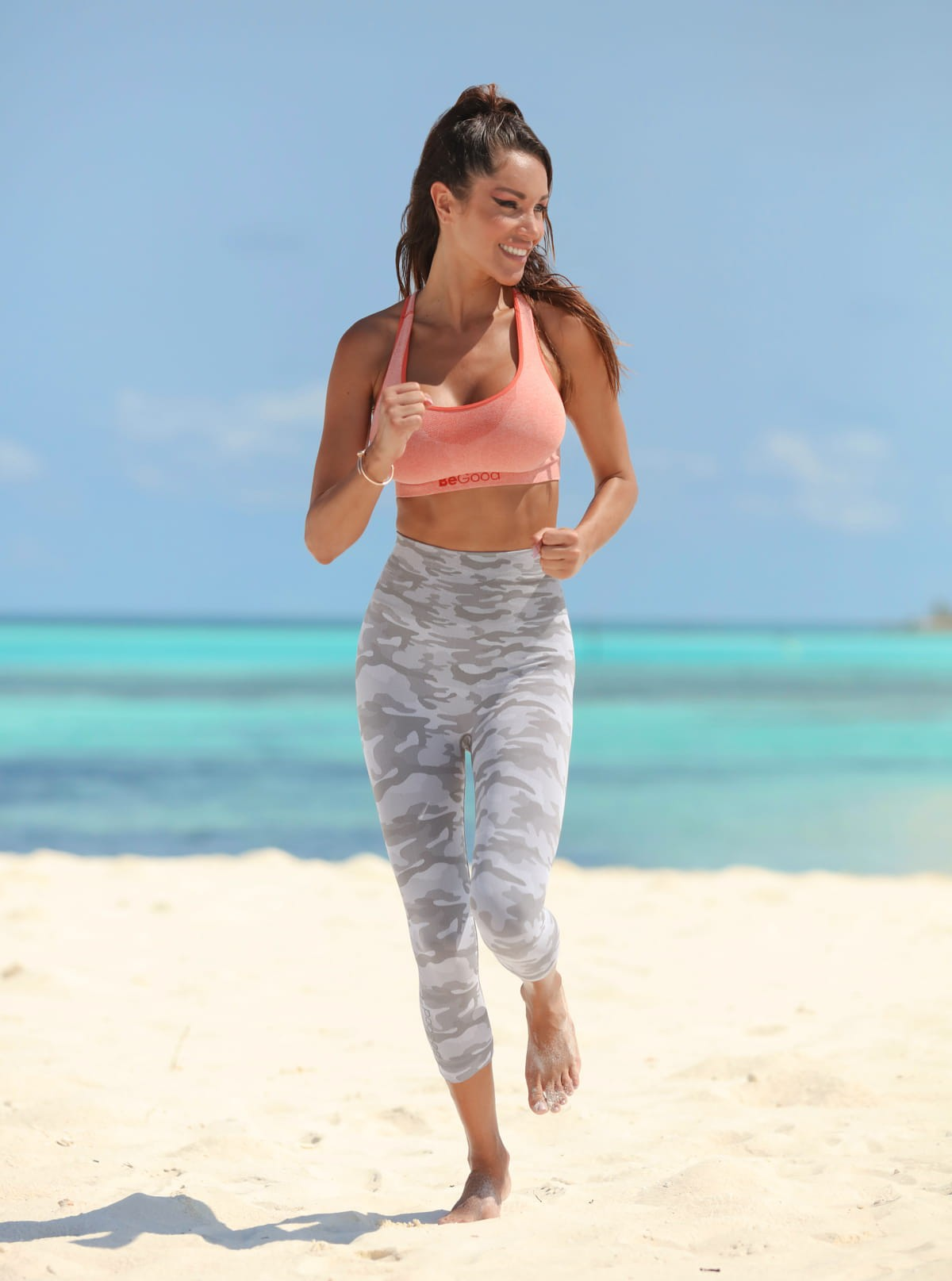 Sportset für Damen: Top Mélange + Caprihose Camouflage