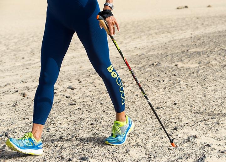 attività fisica all'aperto: camminata lenta con tuta begood