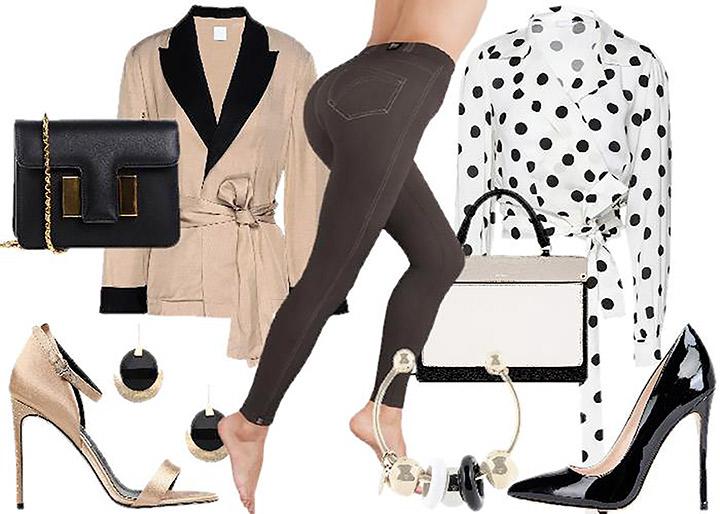 outfit jegging decolleté sandalo pochette blazer