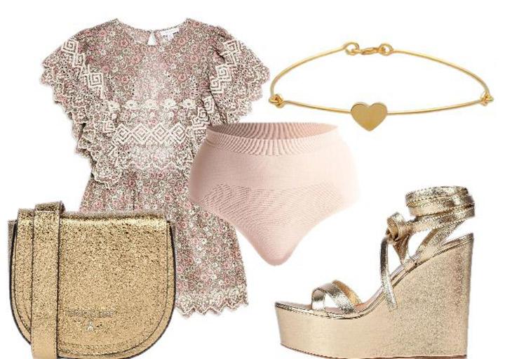 perizoma outfit sparklying oro e rosa antico